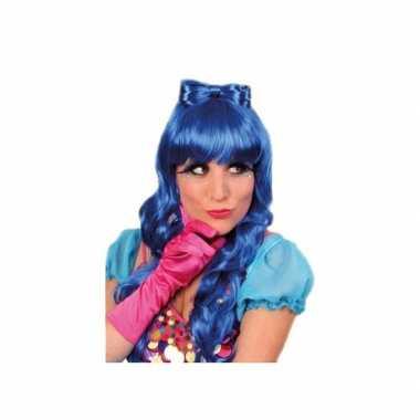 Blauwe damespruik met haarstrik