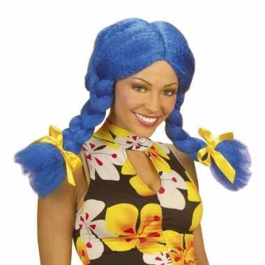 Blauwe dolly pruik voor dames