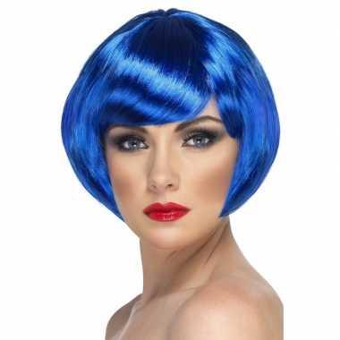 Blauwe korte dames pruik boblijn