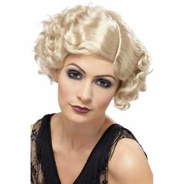 Blonde dames pruik kort jaren 20