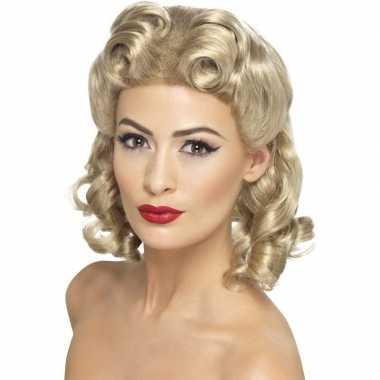 Blonde dames pruik met krullen