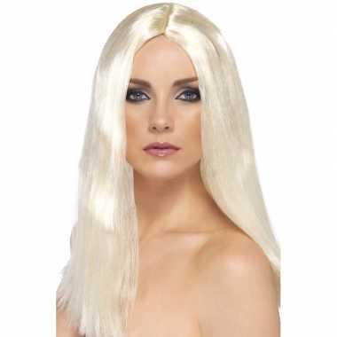 Blonde dames pruik met stijl haar