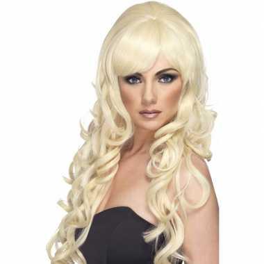 Blonde damespruik lang met krullen