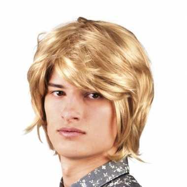 Blonde disco pruik voor heren 70s stijl