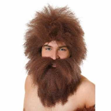 Bruin/rode ruige baard met pruik