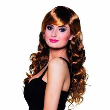 Bruine glamour pruik voor dames