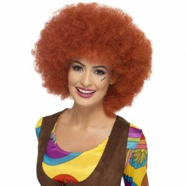 Bruine hippie afro dames pruik