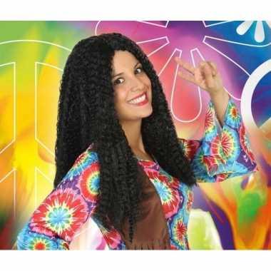 Bruine hippie / flower power verkleed pruik voor dames