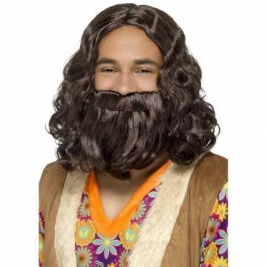 Bruine hippie pruik en baard voor heren