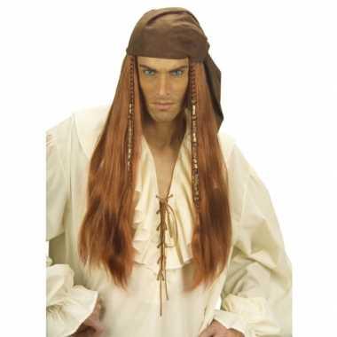 Bruine piraten pruik met lang haar