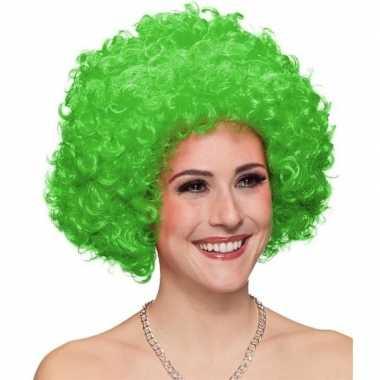 Clownspruik groene krullen voor volwassenen