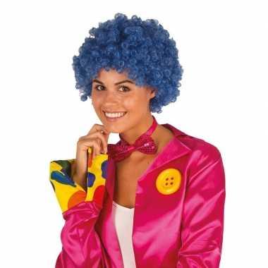 Clownspruik met blauwe krulletjes verkleed accessoire