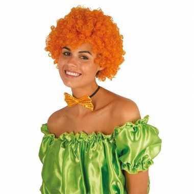 Clownspruik met oranje krulletjes verkleed accessoire