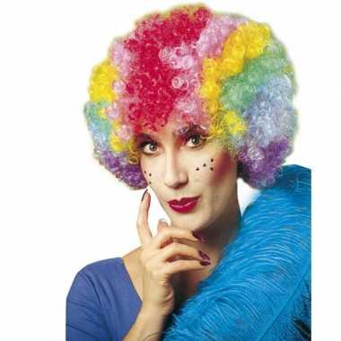Clownspruik met regenboog kleuren