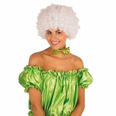 Clownspruik met witte krulletjes verkleed accessoire