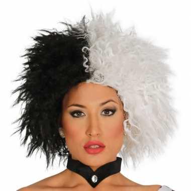 Cruella verkleed pruik zwart/wit voor dames