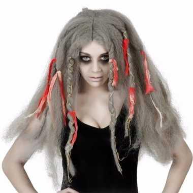 Dames pruik grijs wild haar met strikken