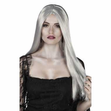Dames pruik lang grijs stijl haar
