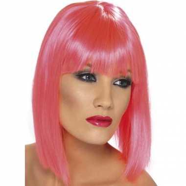 Dames pruiken roze