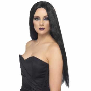 Dames verkleed pruik met zwart lang haar