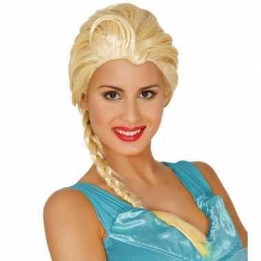 Dames verkleedpruik blond met lange vlecht