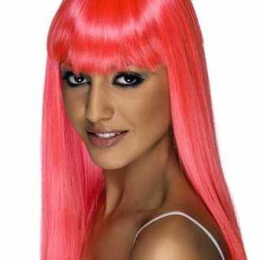 Damespruiken roze lang haar