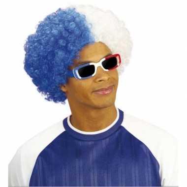 Fan pruik in wit blauw