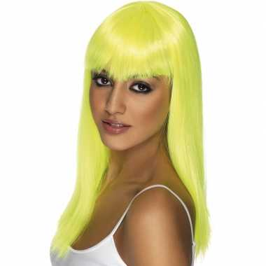 Fel gele dames pruik met pony