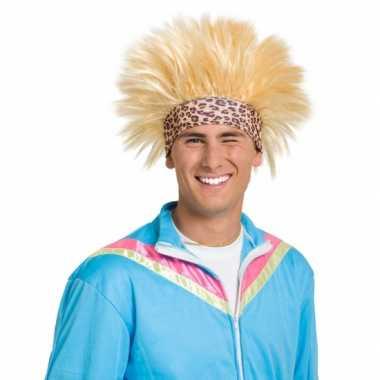 Funny pruik blond met zweetband