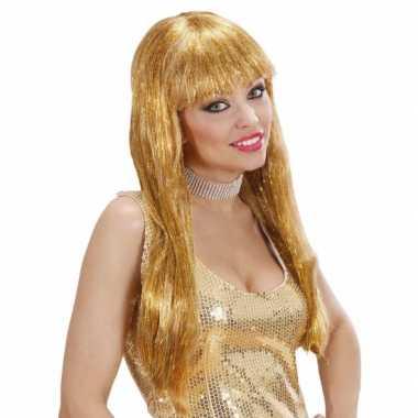 Glitter pruiken in het goud