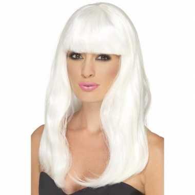 Glow in the dark witte pruik lang haar