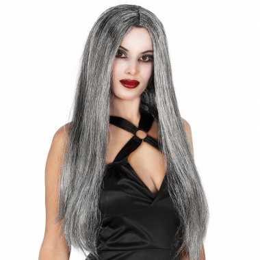 Grijze heksen damespruik met lang haar