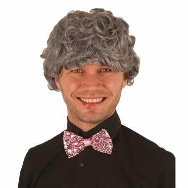 Grijze pruik voor heren verkleed accessoire