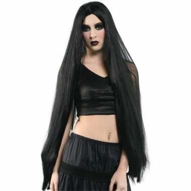 Halloween - extreem lange zwarte heksen pruik