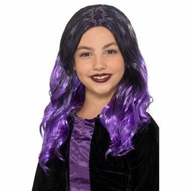 Halloween - lange zwart met paarse meisjespruik met krullen