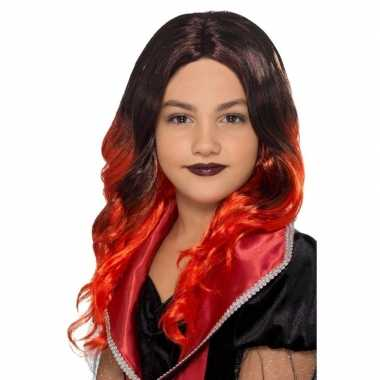 Halloween - lange zwart met rode meisjespruik met krullen