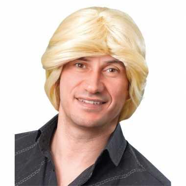 Heren pruik blond haar