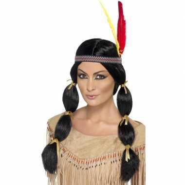 Indianen damespruik met staarten en hoofdband