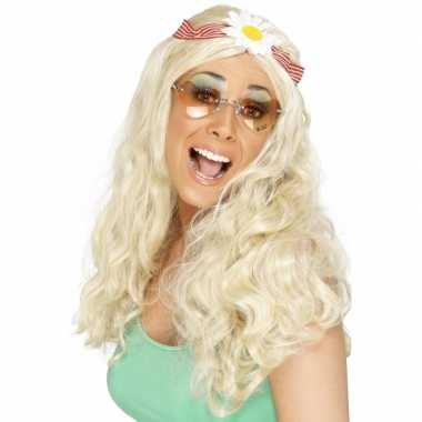 Jaren 60 hippie pruik met haarband