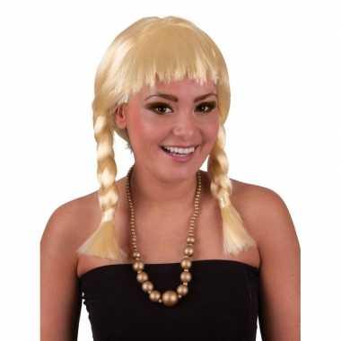 Korte blonde pruik met vlechtjes
