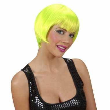 Korte neon groen feest damespruiken