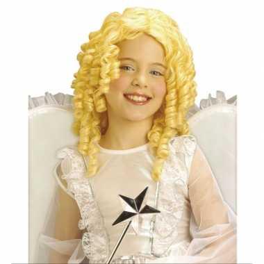 Krullende kinderpruik in blonde kleur