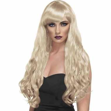 Lange blonde damespruik met krullen en pony
