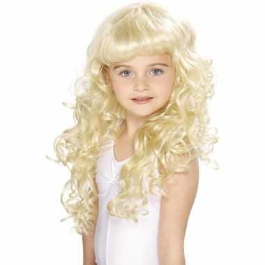 Lange blonde meisjespruik met krullen en pony