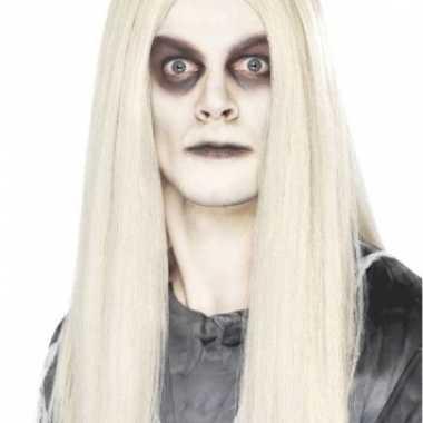 Lange pruik met wit haar