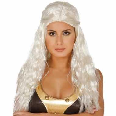 Lange wit blonde prinsessen damespruik