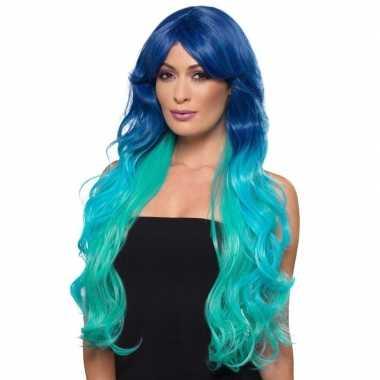 Luxe blauw/turquoise lange pruik voor dames