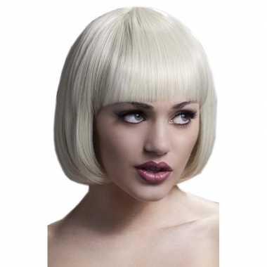 Luxe blonde korte verkleed pruik lola voor dames