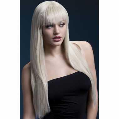 Luxe blonde lange damespruik jessica voor dames