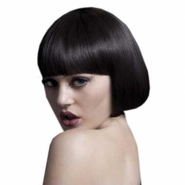 Luxe bruine korte verkleed pruik lola voor dames